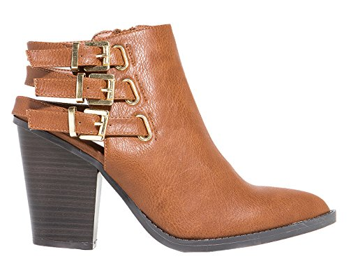 Whiskey Tan Strappy Buckle Vegan Faux Leather Ankle Women's Boots