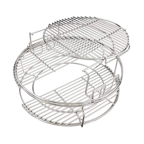 3 Tier 5 Piece EGGspander Replacement Kit for Large Big Green Egg Accessories Aftermarket Parts 304 Stainless Steel Cooking System Combines the 2-Piece Multi-Level Rack and 1-Piece ConvEGGtor Basket
