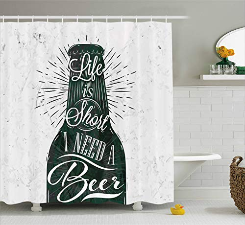 Ambesonne Manly Decor Collection, Wine Glass in Retro Vintage Style Lettering Life is Short I Need a Beer Pattern, Polyester Fabric Bathroom Shower Curtain Set with Hooks, Black White Grey (Beer Shower Curtain)