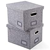 SUPERJARE Collapsible File Box, Storage Office Box Organizer with Handles and Removable Lid for Letter/Legal, Grey Linen Fabric, Set of 2