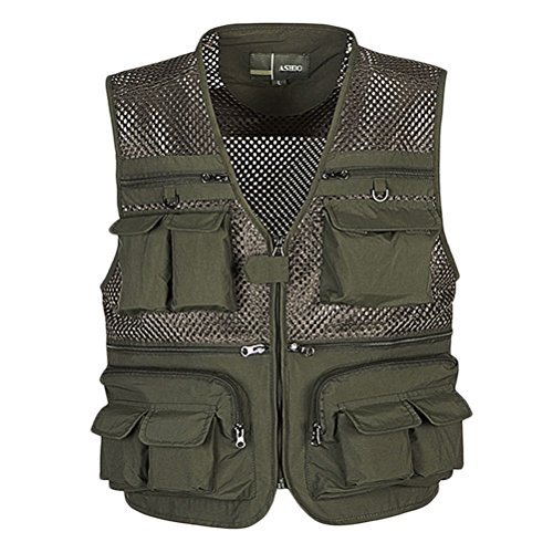Zhuhaitf Chaleco de pesca Mens Fashion Multi-pockets Photography Working Sports Vest Jacket Outerwear Verde
