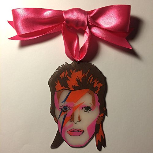ziggy stardust eyes open david bowie hand drawn shrink plastic christmas ornament by silla dilla grape - David Bowie Christmas