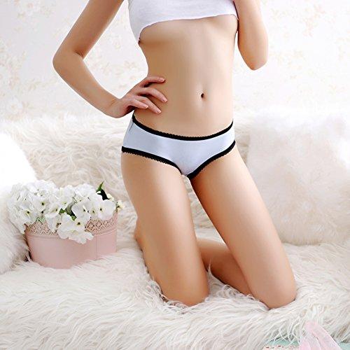 Crotchless donne del delle Biancheria del EVBEA Blu Bow del della sexy cavità Bikini intima mutandine biancheria Tie intima merletto di x4Wp1a