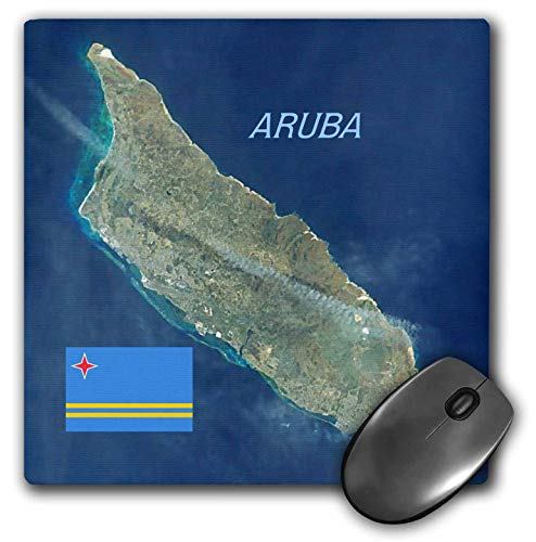 3dRose Lens Art by Florene - Topo Maps and Flags - Image of Aerial Topo View with Flag of Aruba - Mousepad (mp_306862_1)