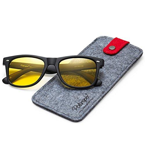 (Polarspex Polarized Unisex 80's Retro Classic Trendy Stylish Sunglasses (Matte Black | Night Driving Yellow, 52))