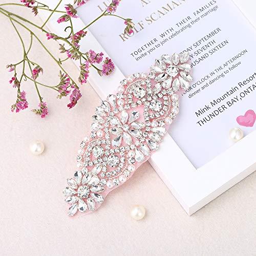 (Rhinestone Applique for DIY Bridal Dress, Wedding- Accessories (Blush))