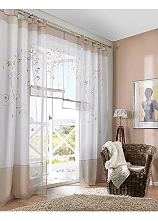 BAILEY JO 1Pièce Rideau Voilage Transparent LxH  140x145cm avec Broderie  Fleur Sable Rideaux à 21939a5e6282