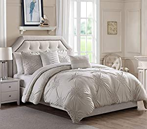 Bourina Queen Comforter Set 5 Piece - Round Floral Pinch Pleat Embroidered Microfiber Comforter Set Queen, Ivory