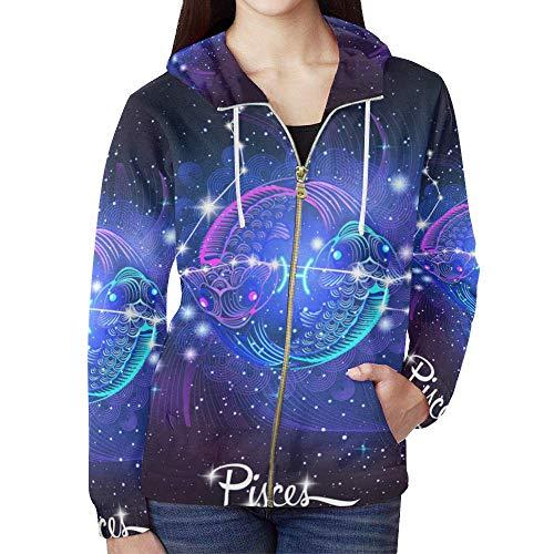 - Constellation Zodiac Sign Pisces Women's Full Zip Hoodie Sweatshirt