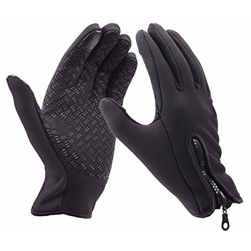 Polyester Lined Vinyl Cover (Cycling Touchscreen Gloves, Black Windproof Glove, Winter Bike Biking Motorcycle Driving for Men and Women)