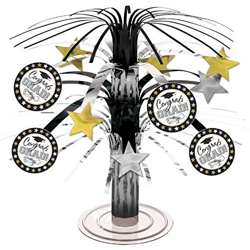 Black, Silver and Gold Graduation Party Caps and Stars Mini Cascade Table Centerpiece Decoration, Foil, (Centerpieces For Graduation Parties)