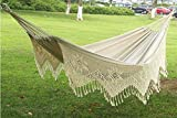 Handmade Classical Style 2 Person Fabric Hammock with Crochet Fringe Max Weight:330 LB Portable Tassel Hammock