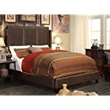 Millbury Home Fresco Two Tone Espresso Upholstered Bed, Bonded Leather, Queen