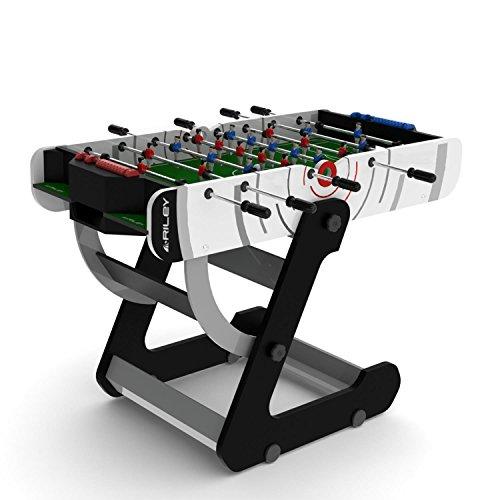 Riley VR90 Profi Tisch-Fussball Kickertisch klappbar (82 x 140, platzsparsam zusammenklappbar, ink. 2 Bälle, 1-2-5-3 Aufstellung) schwarz-weiß