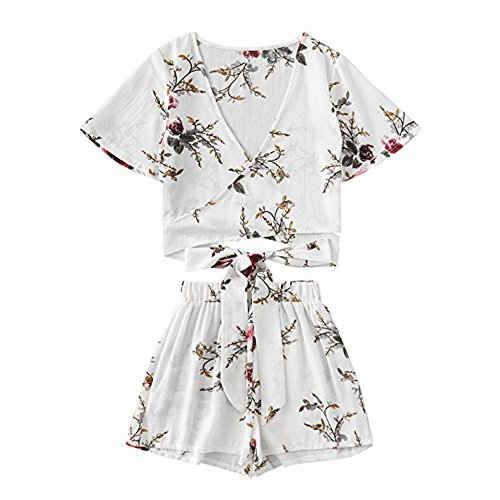 Handyulong Women Rompers Chiffon Floral Print Crop Tops Shorts Two Piece Outfits Beach Jumpsuit for Teen Girls