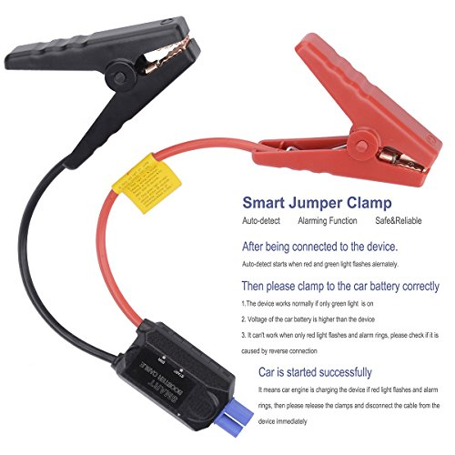 Carpow 500A peak 13600mAh 12V/16V/19V (up to 6.0L Gas, 5.2 Diesel engine Portable &quick charge car jump starter with smart jumper cables built in LED Emergency flashlight Black by Carpow (Image #3)