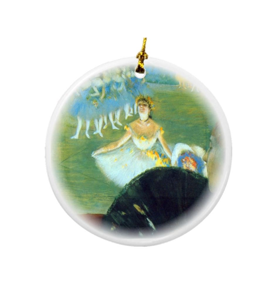 Rikki Knight Edgar Degas Art Dance with Bouquet Design Round Porcelain Two-Sided Christmas Ornaments