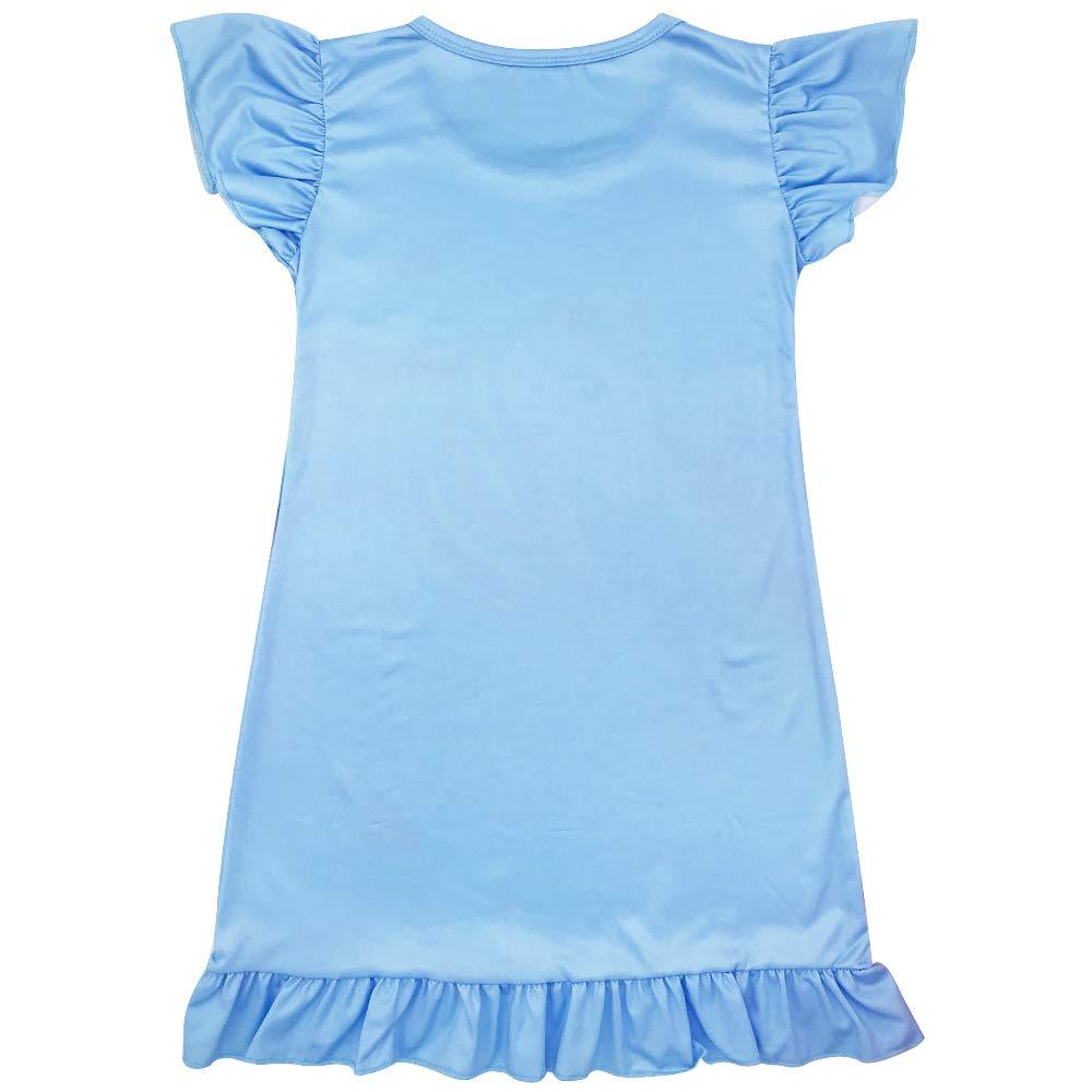 DGAGA Girls Nightgowns Rainbow Printed Nightgown Princess Night Dresses Flutter Sleeve Kids Nightgowns