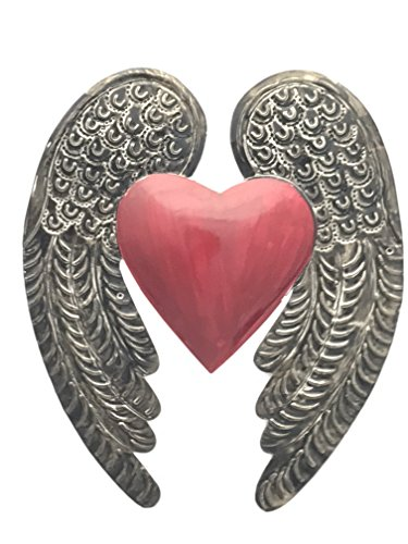Ornament Mexican Folk Art - Madison Imports Milagro Sacred Heart Wings Milagro Ex Voto Tin Antique Silver Color. Beautiful embossed