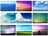 "9Pcs x Fabric Poster Sky Air Cloud Nature Landscape Inspirational Motivational for Office Shop Room Wall Decoration 20x13"" (55x33cm) (801-809)"