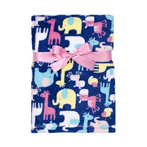 Baby Gear Plush Velboa Ultra Soft Baby Girls Blanket 30 x 40, Safari Girl (Cutie Pie Girl)