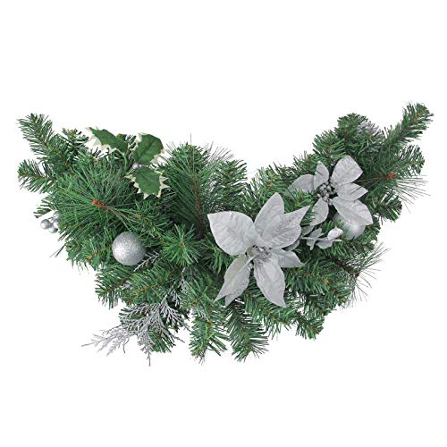 Christmas Swag Decoration Elegant Silver Poinsettia Pine Cone Ball Christmas Door Décor Pine Cone Ball Swag Classic Family Xmas Swag Unlit 30