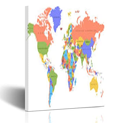 Amazon.com: Canvas Print Wall Art Color World Map Names Countries ...