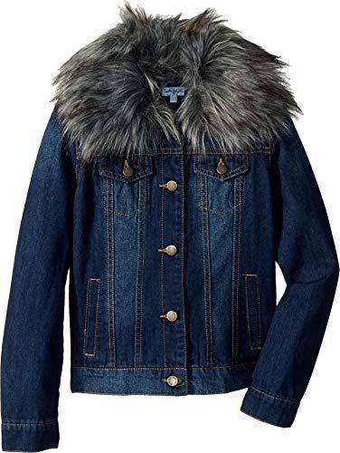 (Splendid Girls' Big Denim Jacket with Faux Fur Collar, Medium Stone)