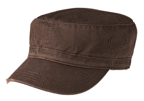 Joe's USA Military Style Distressed Enzyme Washed Cotton Twill Cap-Chocolate