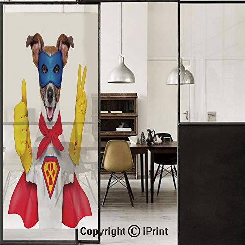 Superhero 3D Decorative Film Privacy Window Film No Glue,Frosted Film Decorative,Super Puppy Hero Dog in Cape and Mask Costume Humor Funny Cute Picture Decorative,for Home&Office,17.7x59Inch Red Yello]()