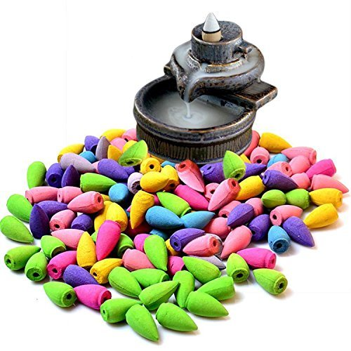 70 Pcs Backflow Natural Smoke Pagoda Indoor Incense Cone Bullet Aromatherapy Rose Lavender Jasmine