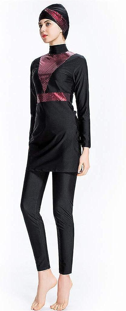 Randolly Womens Swimwear,Muslim Conservative Bathing Suit with Cap Solid Color Swimsuit Splice Beachwear