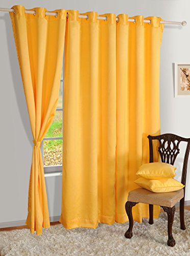 Yuga Yellow Thermal Insulated Polyester Window Drapers Blackout Curtains