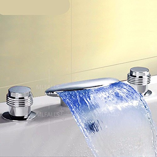 Lpophy Bathroom Sink Mixer Taps Faucet Bath Waterfall Cold and Hot Water Tap for Washroom Bathroom and Kitchen Led Waterfall Waterfall Hot and Cold Water Ceramic Valve Three Holes Double Handle