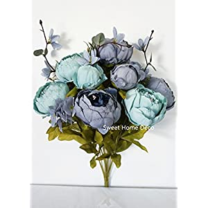 Sweet Home Deco 18'' Super Soft Blooming Peonies and Hydrangeas Silk Artificial Bouquet (13 Stems/6 Flower Heads) 10