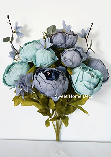 Sweet Home Deco 18'' Super Soft Blooming Peonies and Hydrangeas Silk Artificial Bouquet (13 Stems/6 Flower Heads) - Stem Hydrangea
