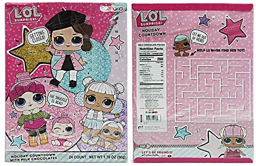 L.O.L. Surprise Dolls Christmas Holiday Countdown Advent Calendar with Milk Chocolates, 1.76 oz
