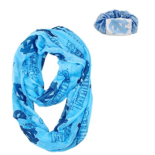Official National Collegiate Athletic Association Fan Shop Authentic NCAA Infinity Scarf and Hair Twist Set (North Carolina Tarheels)