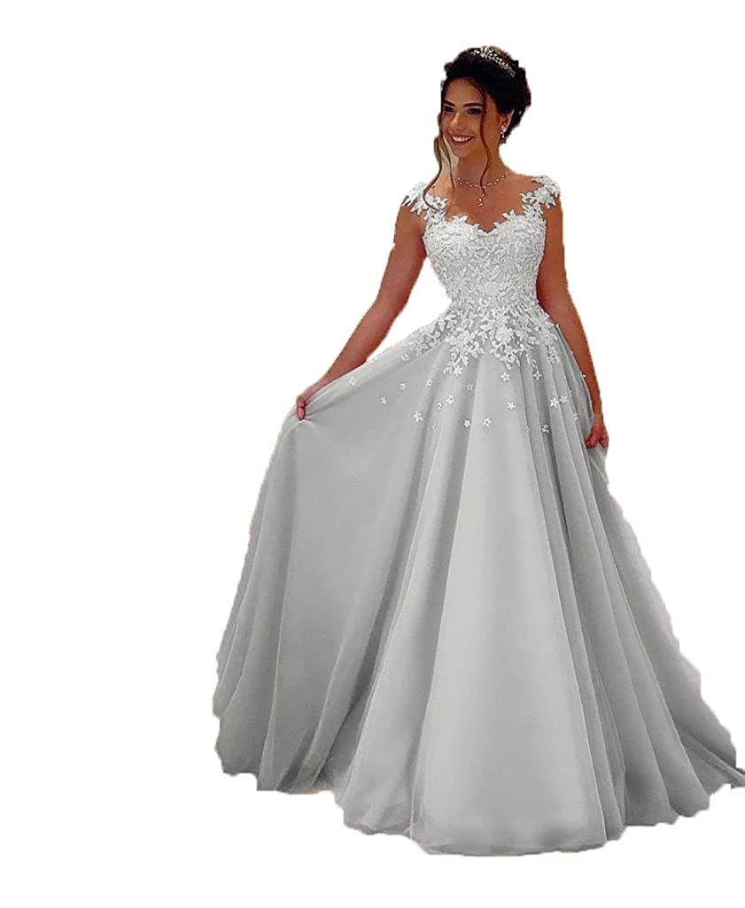 BRLMALL Damen Rosa Lange Prom Kleider Lace Appliques Abendkleid ...