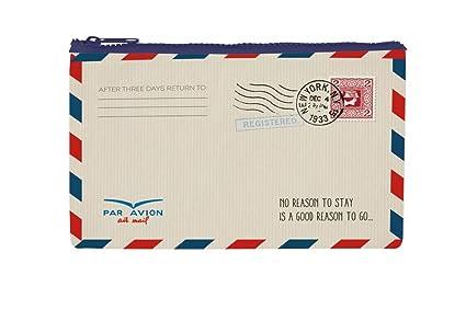Estuche material reciclado diseño carta por avión.: Amazon ...