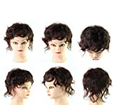 Moreal 9″ Short Curly Human Hair Clip in Mono Topper Crown Topper Top Hair Piece for Women Thinning Hair (Wavy Cury, Dark Brown) For Sale