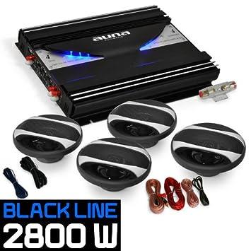 Auna SetBlack Line 420 Impianto audio auto car sistema completo Hi Fi 2800 Watt, amplificatore, 2 altoparlanti da 16.5 CM, 2 altoparlanti da 10 CM, cavi per collegamento