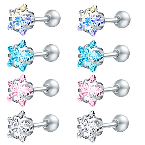 ZS 4 Pairs Shiny Cubic Zirconia Surgical Steel Stud Earrings Tragus Helix Conch Piercing Cartilage Sets (Star,Stone:7mm)