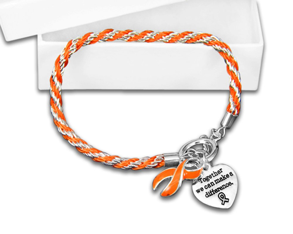 Leukemia Awareness Heart & Ribbon Charms on a Rope Bracelet in a Gift Box (1 Bracelet - Retail)