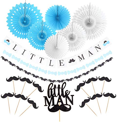 Little Man Baby Shower Supplies decorations | Little Man Baby Shower Banner | Blue Little MAN Cake Topper Mini Mustache Hat Bowtie Cupcake Picks For Baby Shower | Little Man Mustache Cake Topper