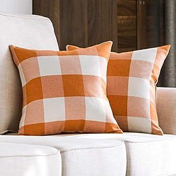 MIULEE Pack of 2 Decorative Classic Retro Checkers Plaids Throw Pillow Covers Cotton Linen Soft Soild Pillow Case Orange Cushion Case for Sofa Bedroom Car 18 x 18 Inch 45 x 45 cm