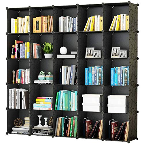 KOUSI Portable Storage Cube Cube Organizer Cube Storage Shelves Cube Shelf Room Organizer Clothes Storage Cubby Shelving Bookshelf Toy Organizer Cabinet, Black (No Door), 25 Cubes