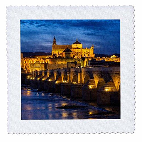 3dRose Danita Delimont - Bridges - Spain, Andalusia. Cordoba. Roman bridge across the Guadalquivir river. - 20x20 inch quilt square (qs_277894_8) by 3dRose
