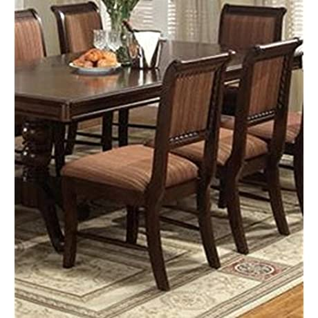Merlot Side Chair Stripe Cushion In Deep Brown Cherry Finish Set Of 2 By Crown Mark