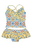 Floatimini Little Girls' Spanish Tile Front Wrap Tankini Set